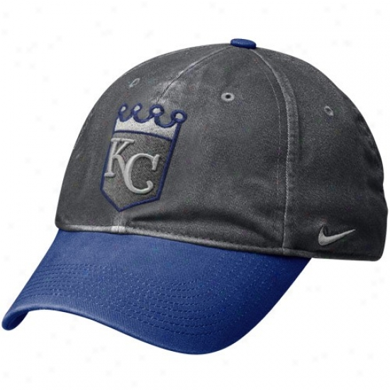 Kansas City Royals Merchandise: Nike Kansas City Royals Graphite-royal Blue Legacy 91 Circus Catch Flex Fit Hat