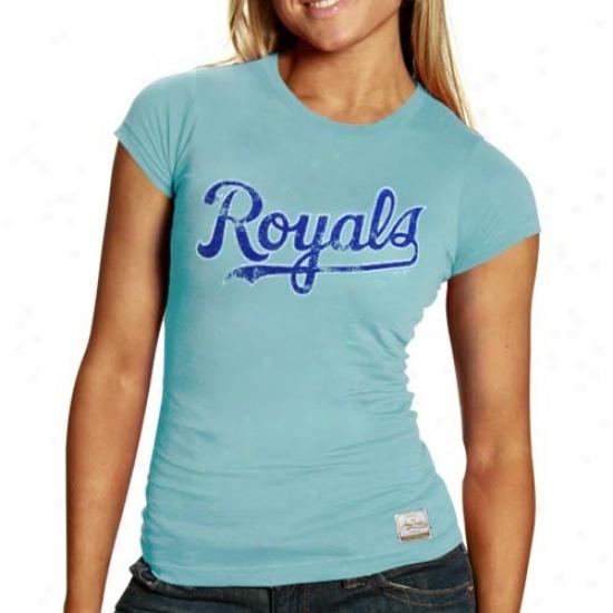 Kansas City Royals Shirts : August Select Kansas City Royals Ladies Light Blue Vintage Paramount Premium Shirts