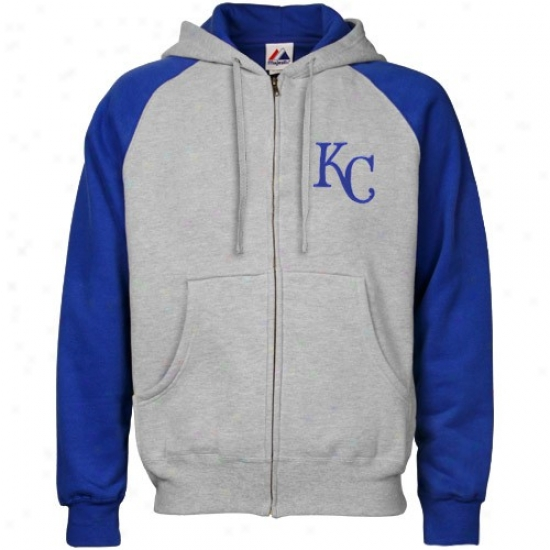 Kansas City Royals Stuff: Majestic Kansas City Royals Ash Clasaic Full Zip Hoody Sweatshirt