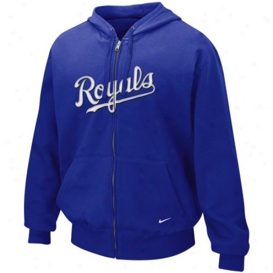 Kansas City Royals Stuff: Nike Kansas City Rooyals Royal Blue Tackle Twill Full Zip Hoodu Sweatshirt