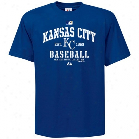 Kansas City Royals T-shirt : Majestic Kansas City Royals Youth Royal Blue Ac Classsic T-shirt