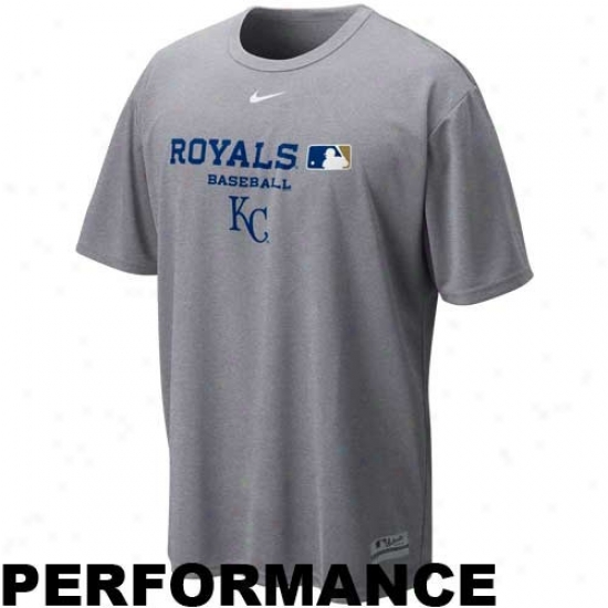 Kansas City Royals Tees : Nike Kansas City Royals Ash Nikefit Team Issue Performance Tees