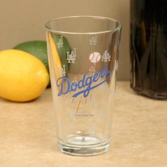 L.a. Dodgers 16oz. Satin Etch Pint Glass