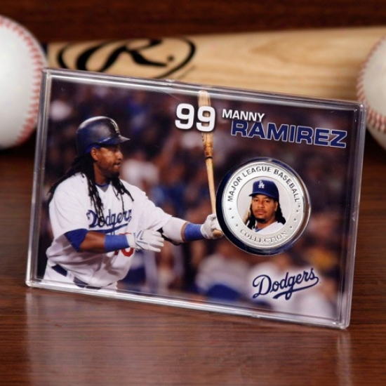 L.a. Dodgers #99 Manny Ramirez Silvery Plate Coin Card