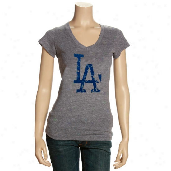 L.a. Dodgers Apparel: L.a. Dodgers Ladies Ash Triblend V-neck Vintags T-shirt