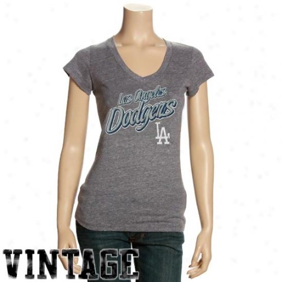 L.a. Dodgers Apparel: L.a. Dodgers Ladies Dark Ash Name V-neck T-shirt
