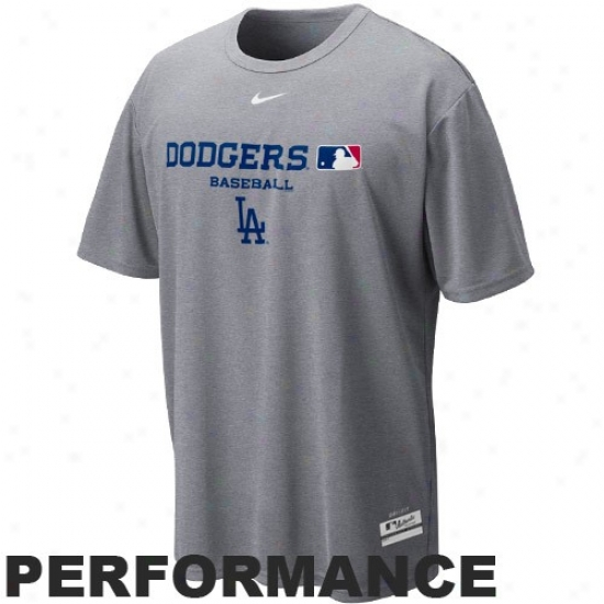 L.a. Dodgers Apparel: Nike L.a. Dodgers Ash Mlb Dri-fit Team Issue Performance T-shirt