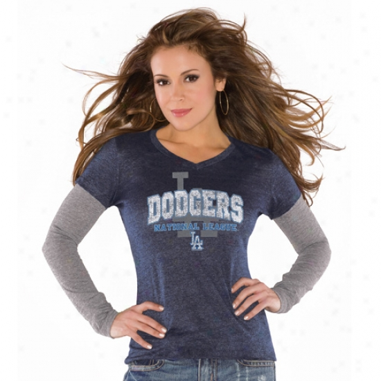 L.a. Dodgers Apparel: Touch By Alyssa Milano L.a. Dodgers Ladies Royal Dismal Double V Triblend Premium T-shirt