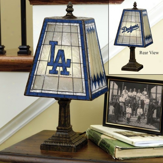 L.a. Dodgers Art-glass Table Lamp