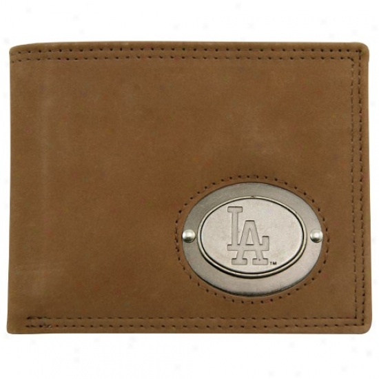 L.a. Dodgers Browwn Leather Metal Emblem Billfold Wallet