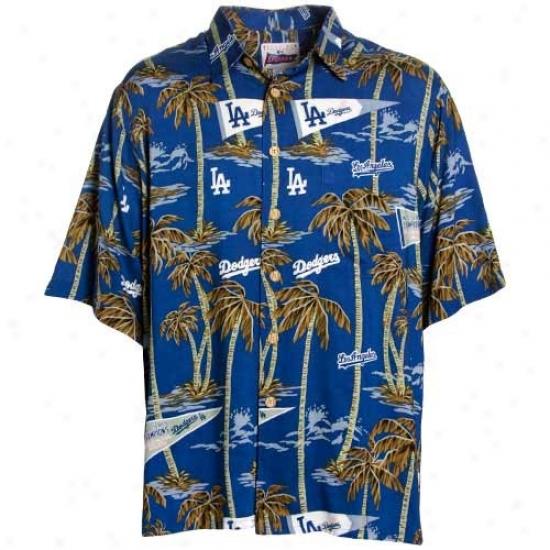 L.a. Dodgers Clothes: Reyn Spooner L.a. Dodgers Ryoal Blue Scenic Print Hawaiian Shirt