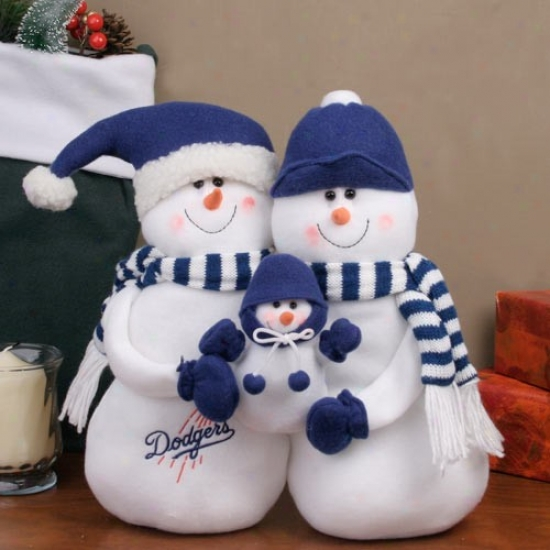 L.a. Dodgers Decorative Table Top Snowman Family Figurine