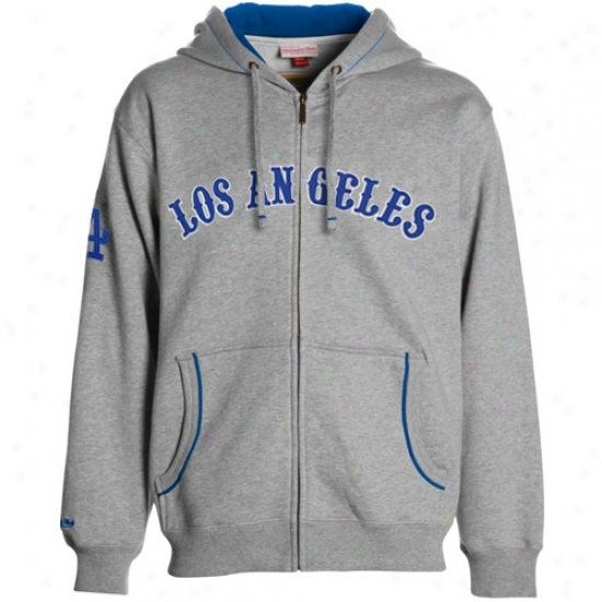 L.. Dodgers Cover fleecily : Mitchell & Ness L.a. Dodgers Ash 1940 Throwback Full Zip Fleece
