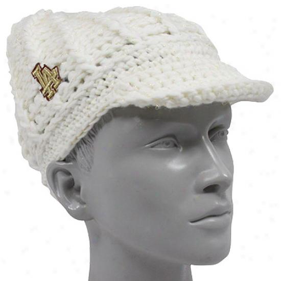 L.a. Dodgers Gear: New Era L.a. Dodgers Ladies White Gold-spun Visor Beanie