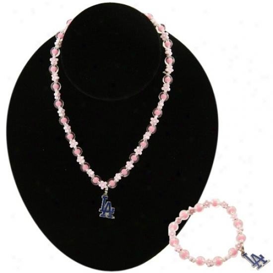 L.aa. Dodgers Girls Pink Beaded Bracelet & Necklace Set W/team Logo Spell