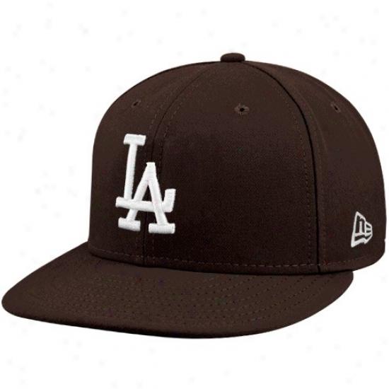 L.a. Dodgers Hat : New Era L.a. Dodgers Brown League Basic Fitted Hat