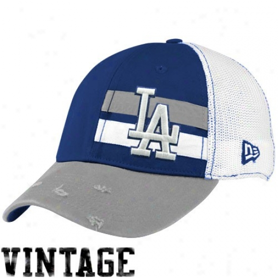 L.a. Dodgers Hats : New Era L.a. Dodgesr White Double Strie Vintage Flex Fit Hats