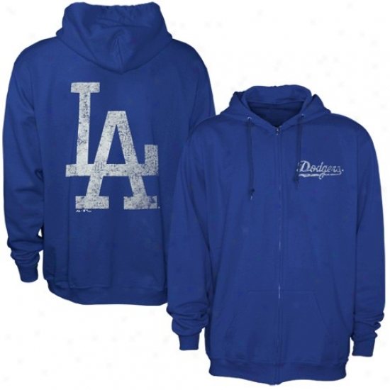 L.a. Dodgers Hoodys : Majestic L.a. Doddgers Royal Blue Field Idol Full Zip Hoodys