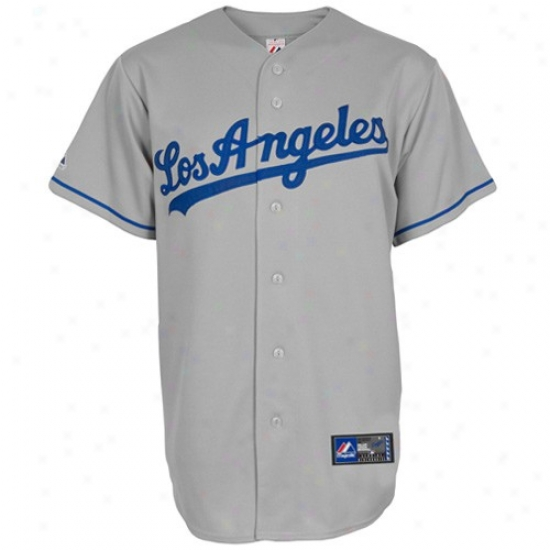 L.a . Dpdgers Jerseys : Majestic L.a. Dodgers Youth Gray Autograph copy Baseball Jerseys