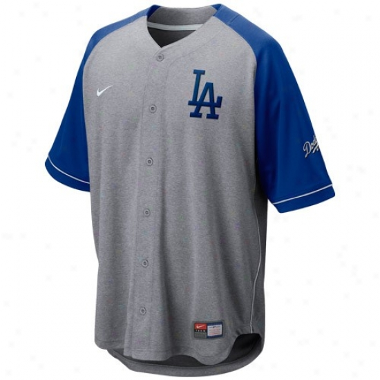 L.a. Dodgers Jerseys : Nike L.a. Dodgers Ash-royal Blue At 'em Full Button Baseball Jerseys
