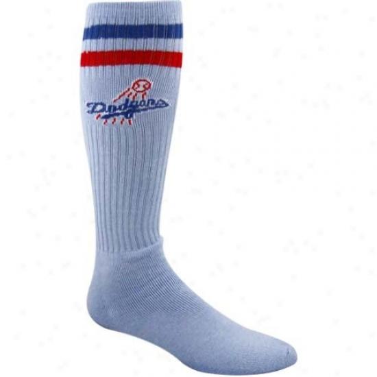 L.a. Dodgers Light Blue Vintage Logo Tube Socks
