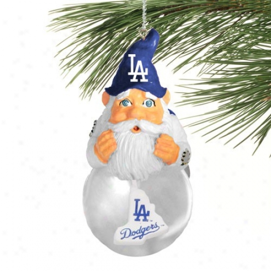 L.a. Dodgers Light-up Gnome Snowglobe Christmas Ornament