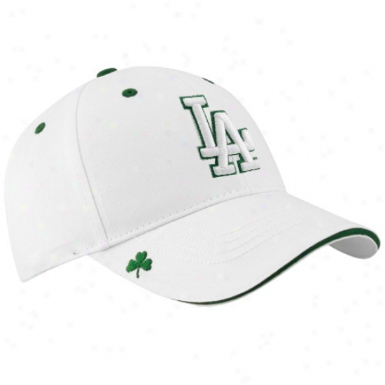 L.a. Dodgers Merchandise: New Eea L.a. Dodgers White Hooley St. Patrick's Day Adjustable Hat