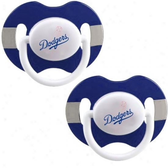 L.a. Dodgers Royal Blue-gray Striped 2-pack Team Logo Pacifiers