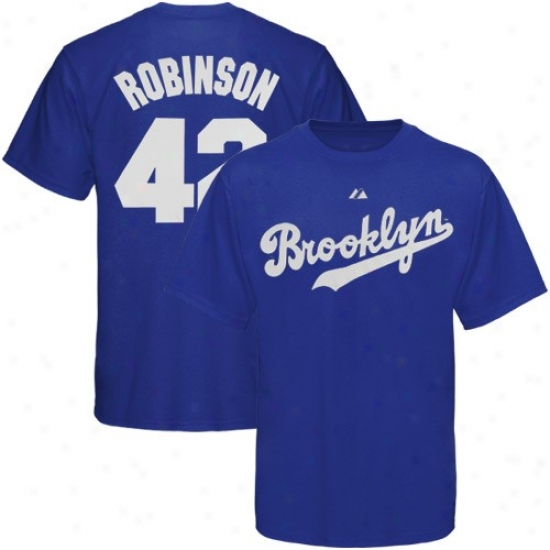 L.a. Dodgers Shirt : Majestic Brooklyn Dodgers #42 Jackie Robinson Royal Blue Cooperstown Player Shirt