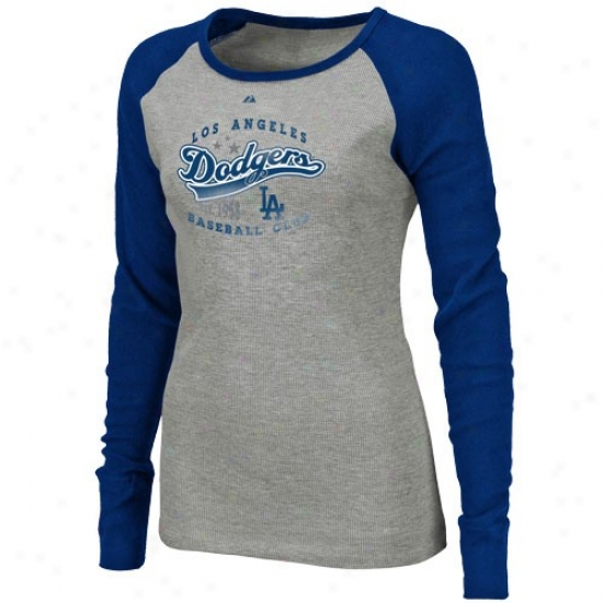 L.a. Dodgers Shirt : Majestic L.a. Dodgers Ladies Ash-royal Blue Appeal Play Premium Long Sleeve Shirt