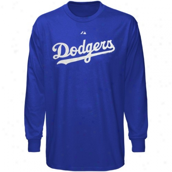 L.a. Dodgers Shirt : Majestic L.a. Dodgers Royal Blue Wordmark Throughout Sleeve Shirt