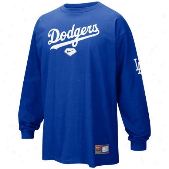L.a. Dodgers Shirt : Nike L.a. Dodgers Royal Blue Practice Long Sleeve Shirt
