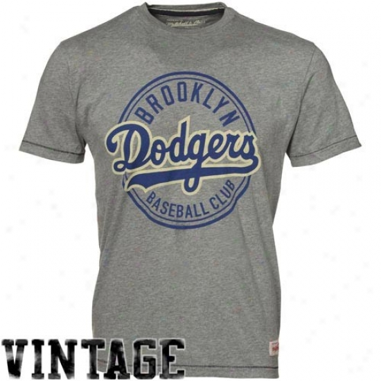 L.a. Dodgers Shirts : Mitchell & Ness B5ooklyn Dodgers Ash Retro Cooperstown Premium Shirts