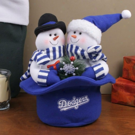 L.a. Dodgers Snowmen Top Hat Plush Figurine