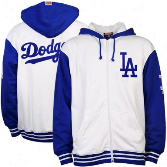 L.a. Dodgers Sweatshirts : L.a. Dodgers White Full Zip Sweatshirts