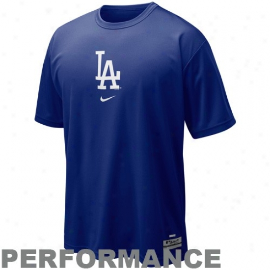 L.a. Dodgers T-shirt : Nike L.a. Dodgers Royal Blue Nikefit Logo Performance T-shirt