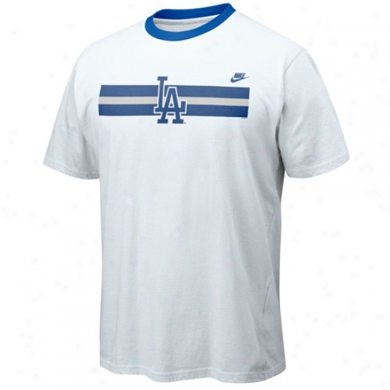 L.a. Dodgers T-shirt : Nike L.a. Dodgers White High Strike Contrast Crew T-shirt