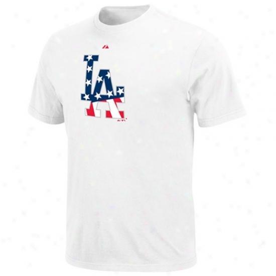 L.a. Dodgers Tee : Majestic L.a. Dodgers White Stars & Stripes Logo Tee