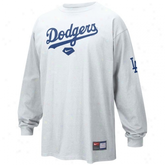 L.a. Dodgers Tees : Nike L.a. Dodgers White Practice Long Sleeve Tees