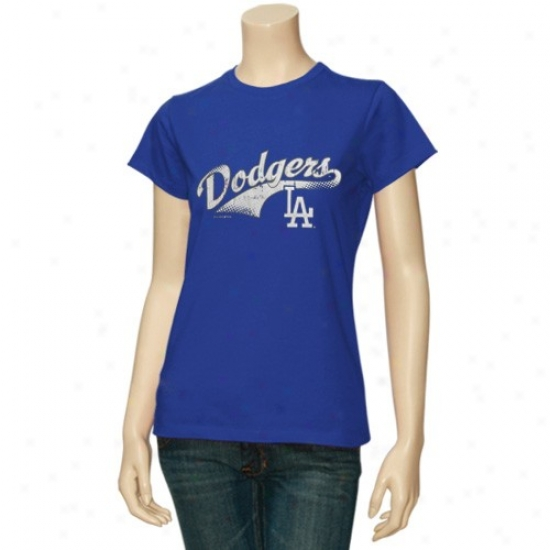 L.a. Dodgers Tshirt : L.a. Dodgers Ladies Royal Blue Distressed Vaulted Logo Tshirt