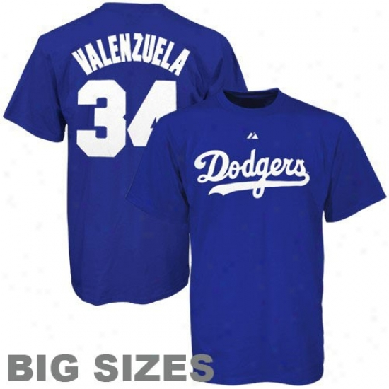 L.a. Dodgers Tshirt:  Majestic L.a. Dodgers #34 Fernando Valenzuela Royal Blue Cooperstown Plz6ers Big Sizes Tshirt