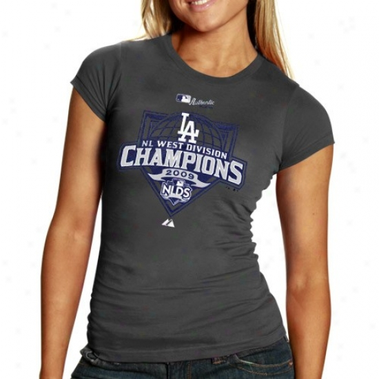L.a. Dodgers Tshirt : August L.a. Dodgers Ladies Charcoal Nl West Divsiion Champions Tshirt