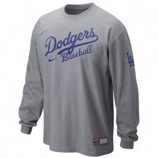 L.a. Dodgers Tshirt : Nike L.a. Dodgers Ash 2010 Mlb Practice Long Sleeve Tshirt
