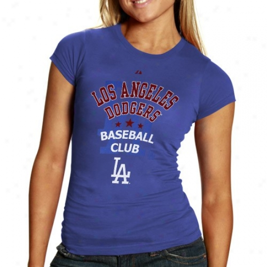 L.a. Dodgers Tshirts : Majestic L.a. Dodgers Laadies Imperial Blue Heathered Coub Tshirts