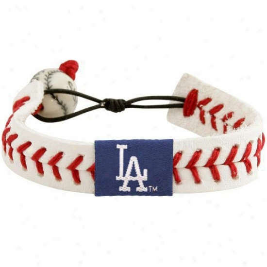 L.a. Dodgers White Leather Baseball Seam Bracelet