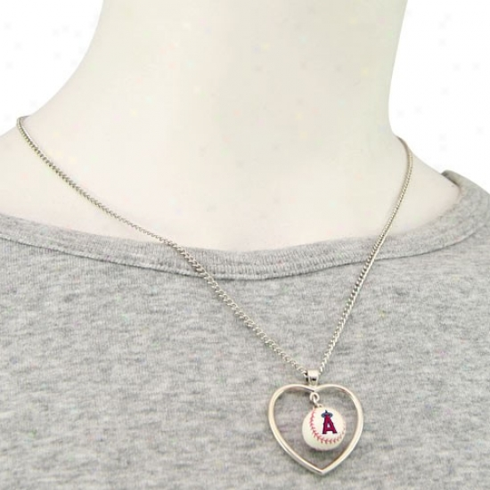 Los Angeles Angels Of Anahrim 3d Baseball Heart Pendant Necklace