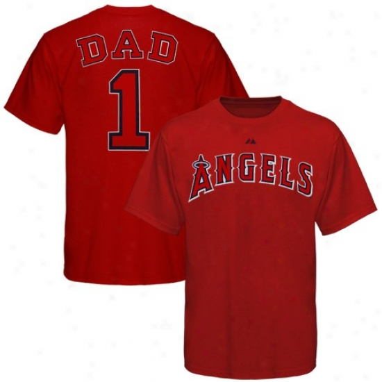 Los Angeles Angels Of Anaheim Apparel: Majestic Los Angeles Angels Of Anaheim Red #1 Dad T-shirt