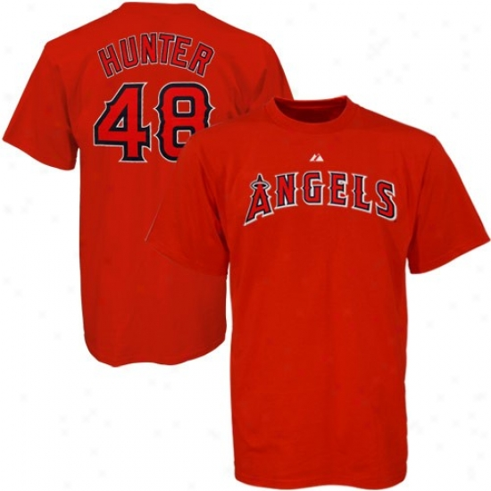 Los Angeles Angels Of Anaheim Attire: Majestic Los Angeles Angels Of Anaheim #48 Torii Hound Red Players T-shirt