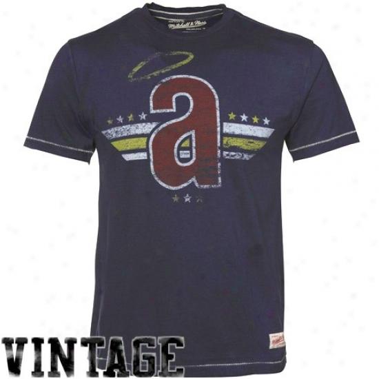 Los Angeles Angels Of Anaheim Attire: Mitchell & Ness Los Agneles Angels Of Anaheim Ships Blue Retro Cooperstown Premium T-shirt