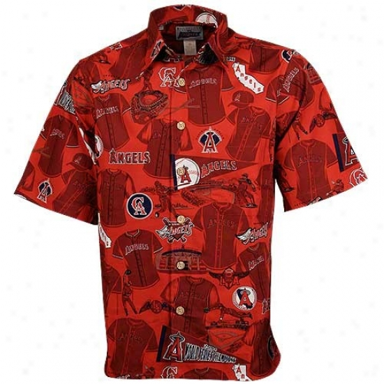 Los Angeles Angels Of Anaheim Clothes :Reyn Spooner Anaheim Angels Red Hawaiian Mlb Scenic Button-up T-shirt
